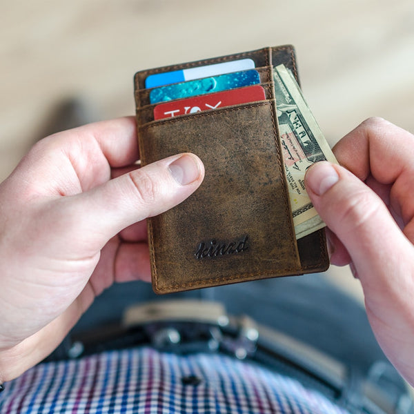 Crazy Horse Leather Minimalist RFID Slim Wallet