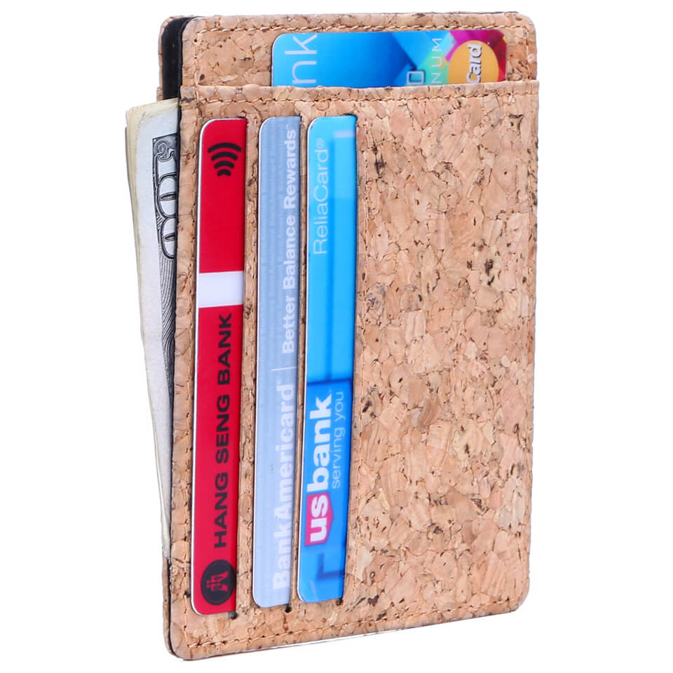 Cork Fabric Minimalist Mens Pocket Wallet