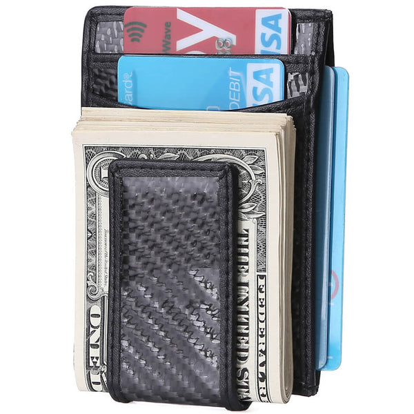 Kinzd Carbon Fiber RFID Money Clip Card Holder