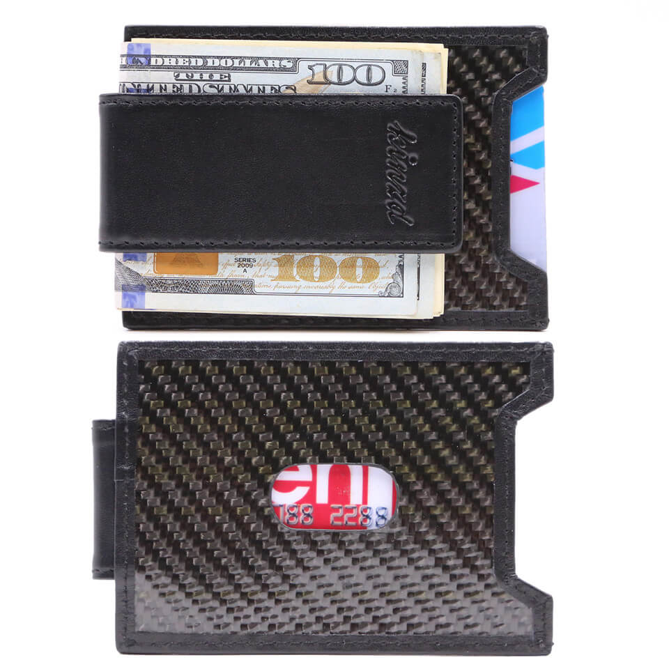 Kinzd Mens Carbon Fiber Slim Money Clip front Pocket Wallet