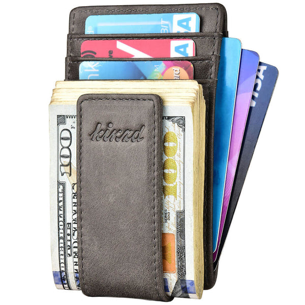 Kinzd Wax Oil Leather RFID Money Clip Wallet Card Holder
