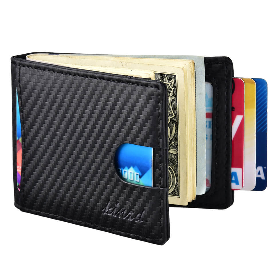 Kinzd Carbon Fiber RFID Bifold Wallet for Men