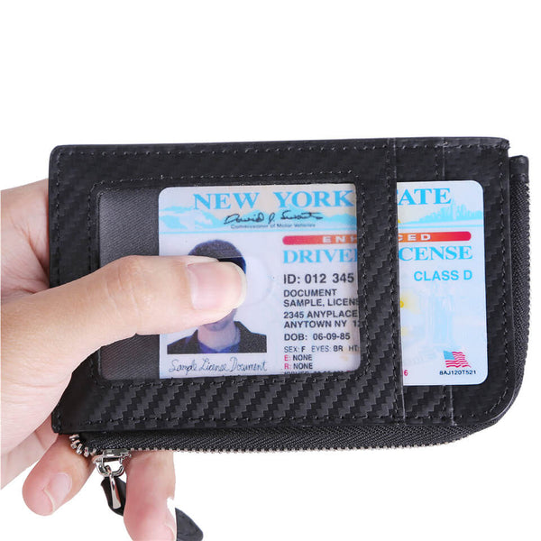 Kinzd Carbon Fiber Coin Wallet Slim Card Case