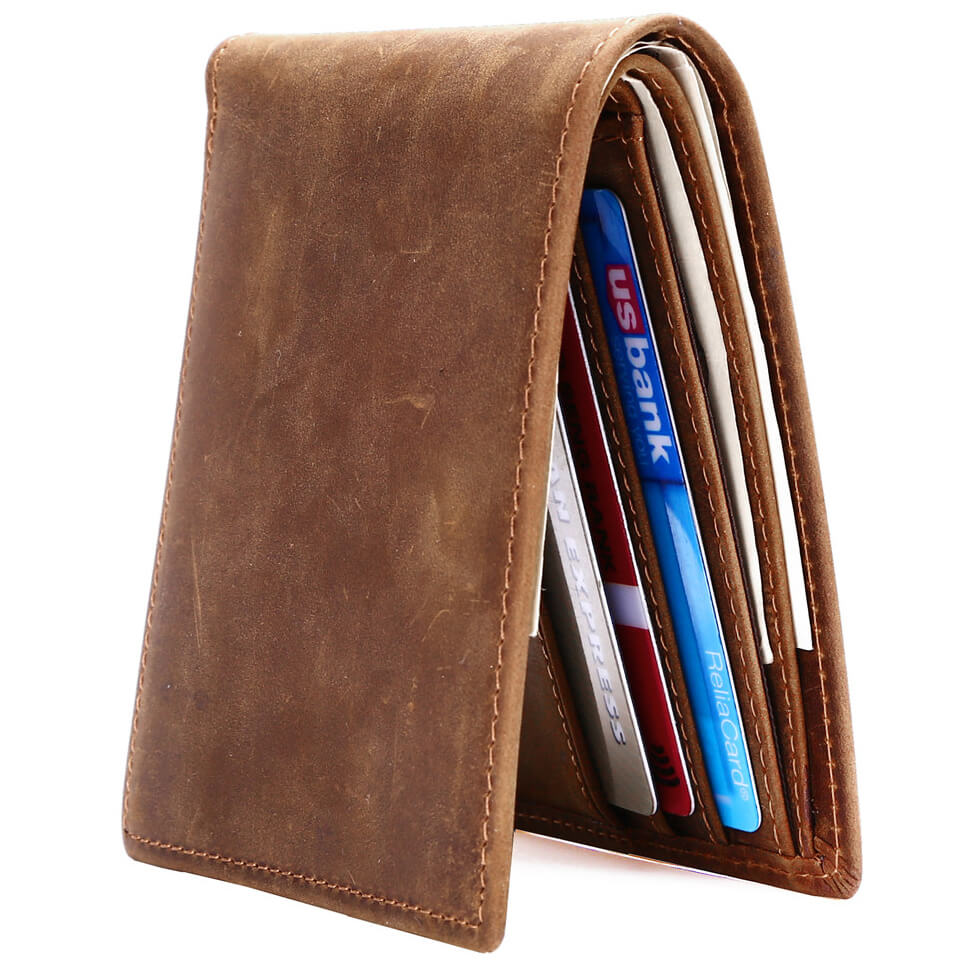 Kinzd Crazy Horse Leather Mens RFID Blocking Bifold Wallet