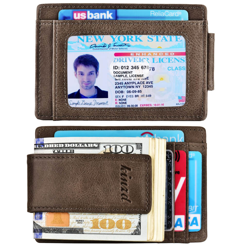 Kinzd Oil Wax Leather Money Clip RFID Front Pocket Wallet