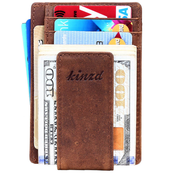 Kinzd Crazy Horse Leather Front Pocket Money Clip Wallet