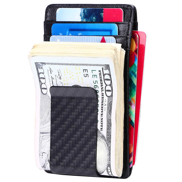 Kinzd Carbon Fiber ID Window RFID Money Clip Wallet