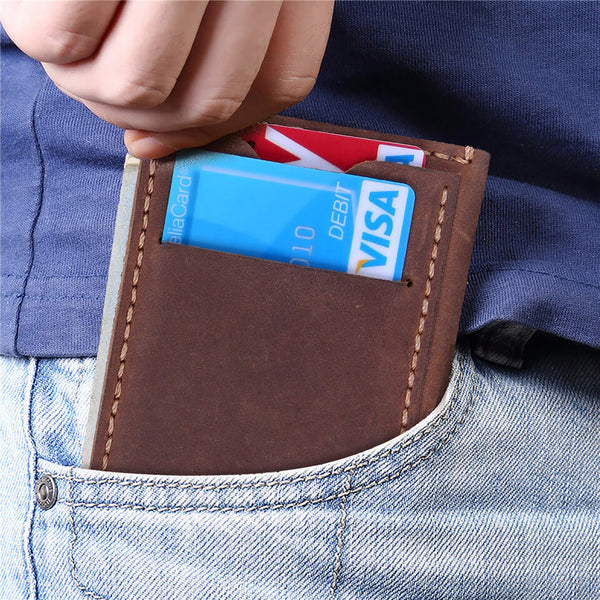 Kinzd Crazy Horse Leather Minimalist RFID Mens Wallet