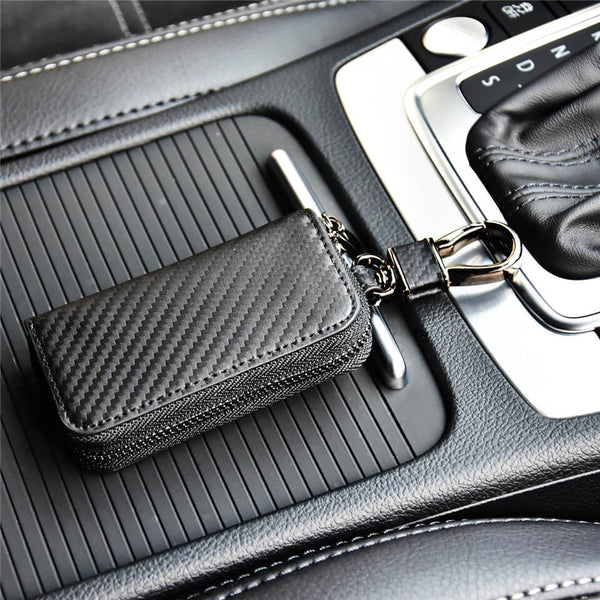 Kinzd Car Carbon Fiber Genuine Leather Key Holder