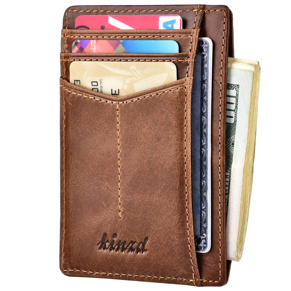 Oil Wax Leather Y Style Slim Wallet