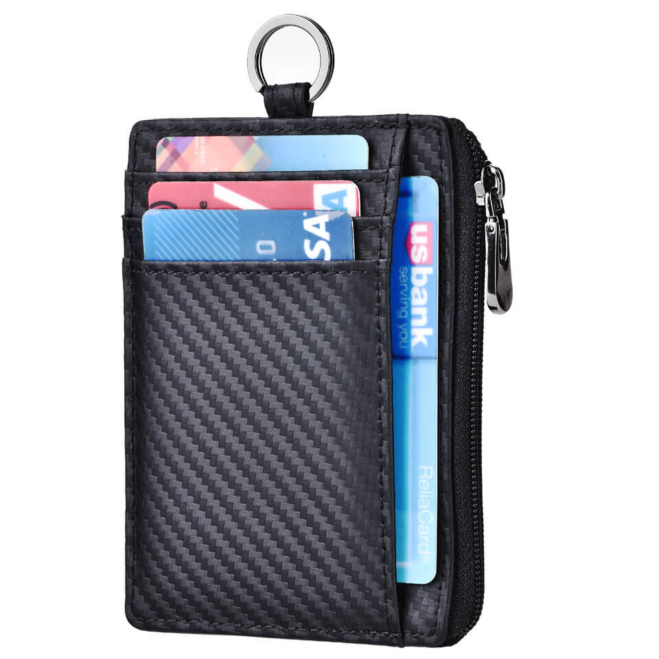 Carbon Fiber Slim Ziper Coin Wallet Card Holder