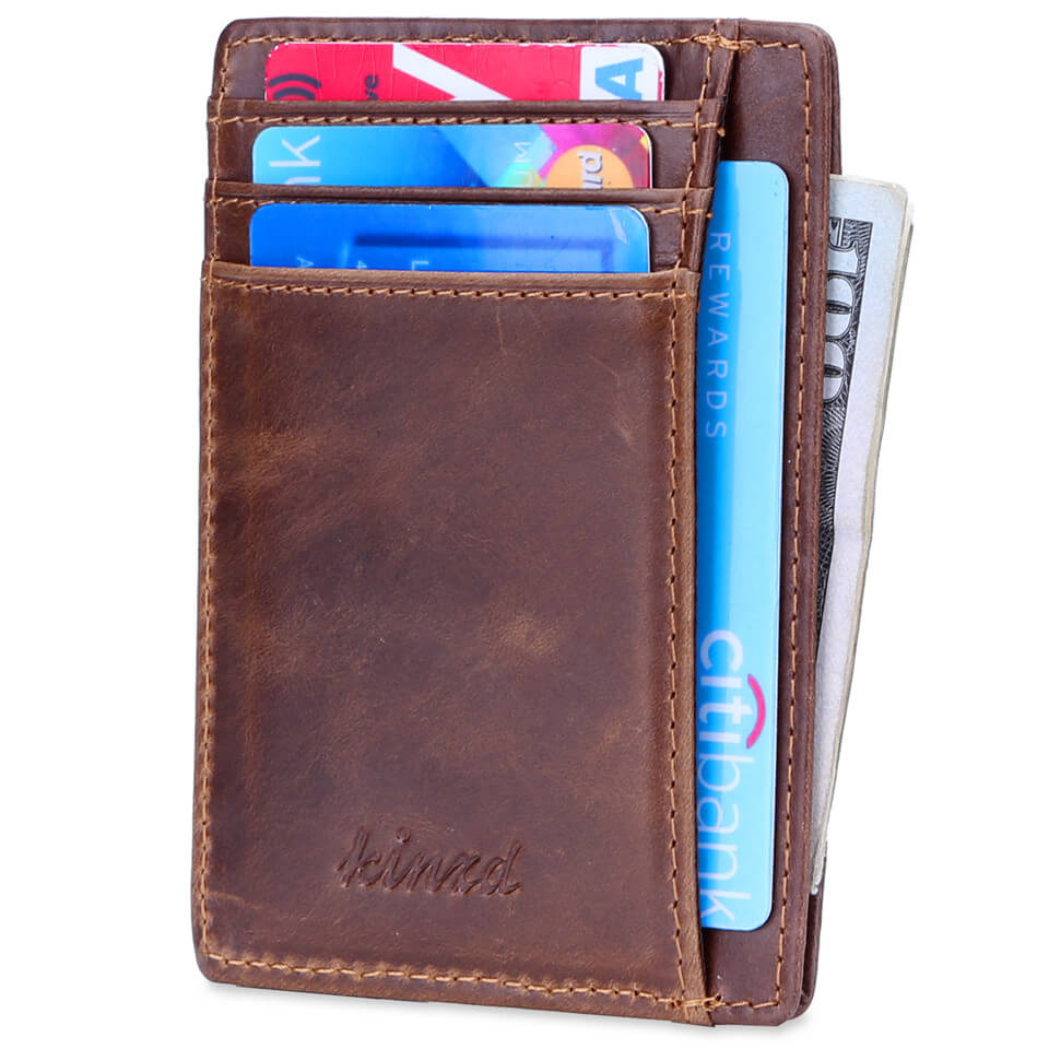Oil Wax Leather Slim Front Pocket Wallet