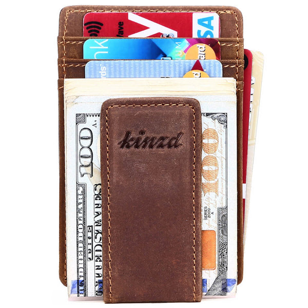 Kinzd Crazy Horse Leather Y Style Money Clip Wallet