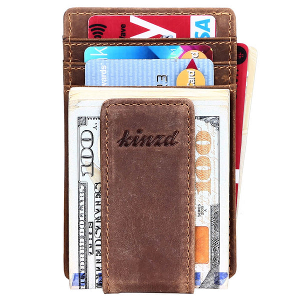 Crazy Horse Leather Money Clip Wallet Card Holder