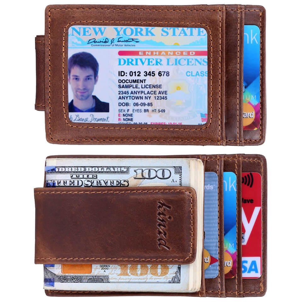 Kinzd Oil Wax Leather Slim Money Clip ID Card Holder
