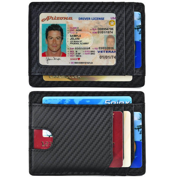 Spiex Carbon Fiber Slim Wallet RFID Blocking Card Holder