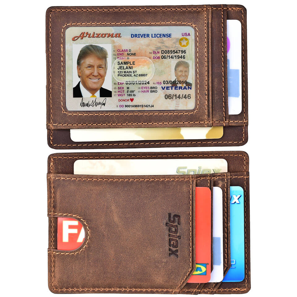 Spiex Crazy Horse Leather Slim RFID Blocking Wallet