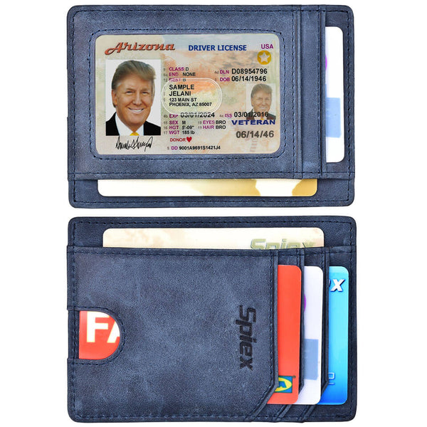 Spiex Oil Wax Leather Slim RFID Blocking Wallet