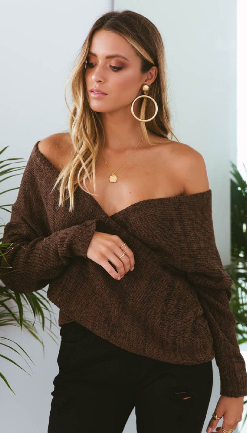 DOUBLE CROSS KNIT - CHOCOLATE