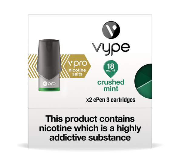VYPE EPEN3 - CRUSHED MINT - V PRO NIC SALT CARTRIDGES
