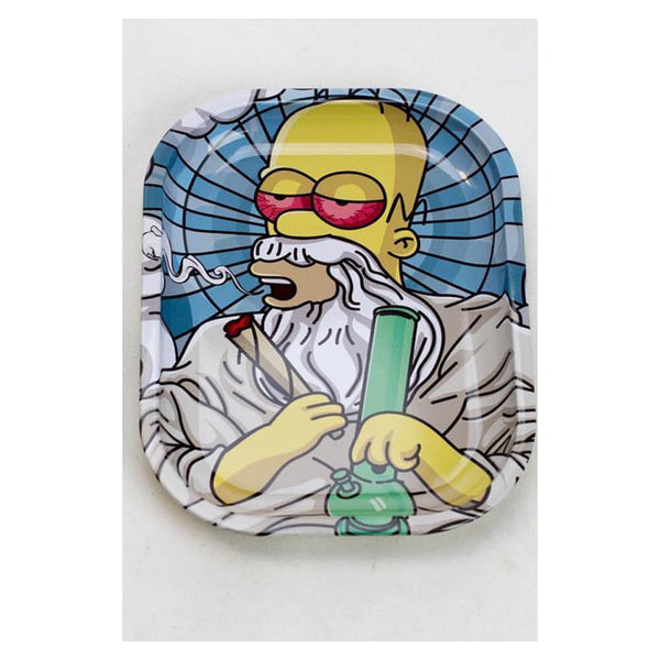 "HOMER SIMPSONS ""DANK GOD"" METAL ROLLING TRAY - SMALL BY SMOKE ARSENAL"