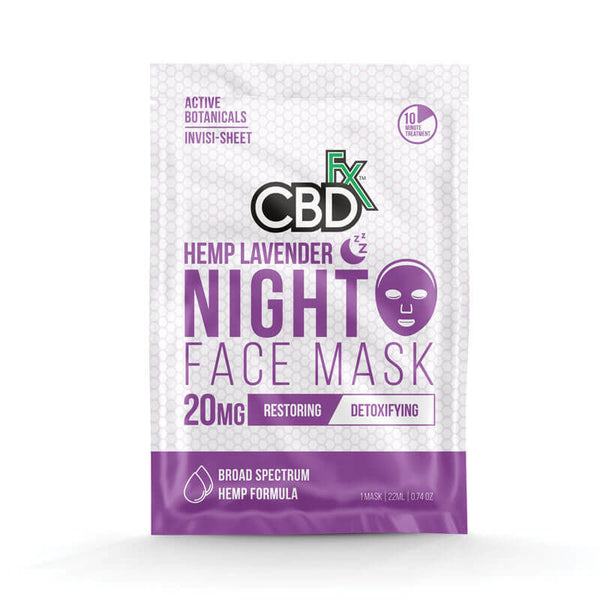 CBDFX HEMP LAVENDER NIGHT FACE MASK - 20mg