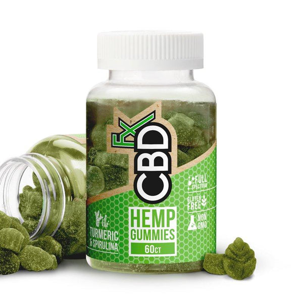 CBDFX - FULL SPECTRUM CBD HEMP GUMMIES WITH TUMERIC AND SPIRULINA 300mg (60 x 5mg GUMMIES)