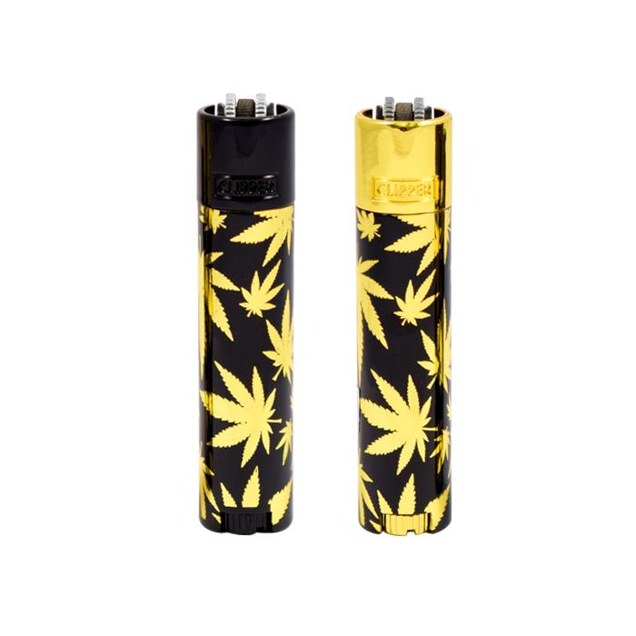 METAL CLIPPER LIGHTER - BLACK WITH GOLD WEED LEAF DESIGN