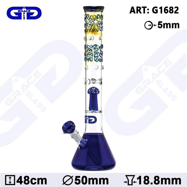 GRACE GLASS - OG SERIES BLUE - 48cm GLASS MUSHROOM PERCOLATOR BONG