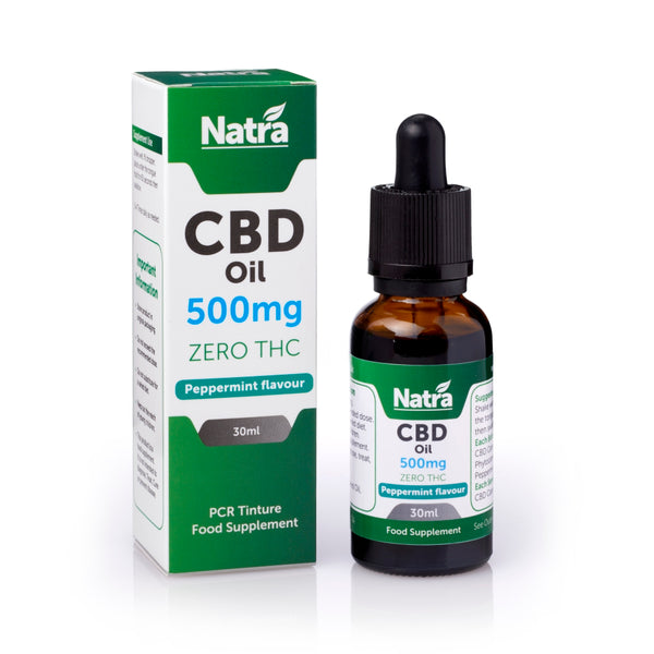 NATRA CBD - 500mg CBD OIL - PEPPERMINT 30ml BOTTLE