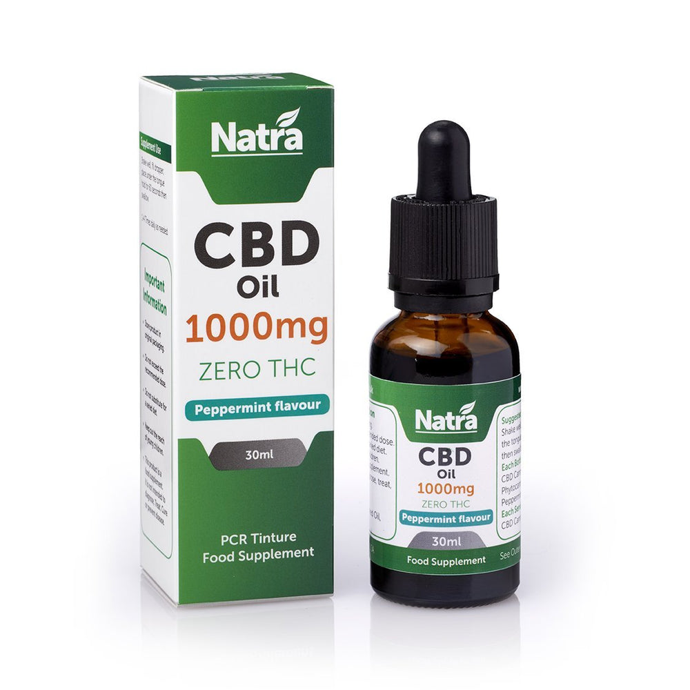 NATRA CBD - 1000mg CBD OIL - PEPPERMINT 30ml BOTTLE