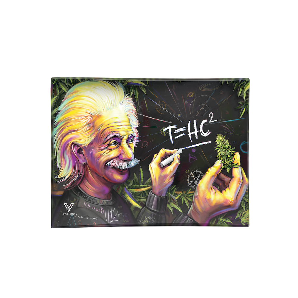 "ALBERT EINSTEIN T=HC2 ""HIGHER EDUCATION"" GLASS ROLLING TRAY BY V SYNDICATE - MEDIUM"