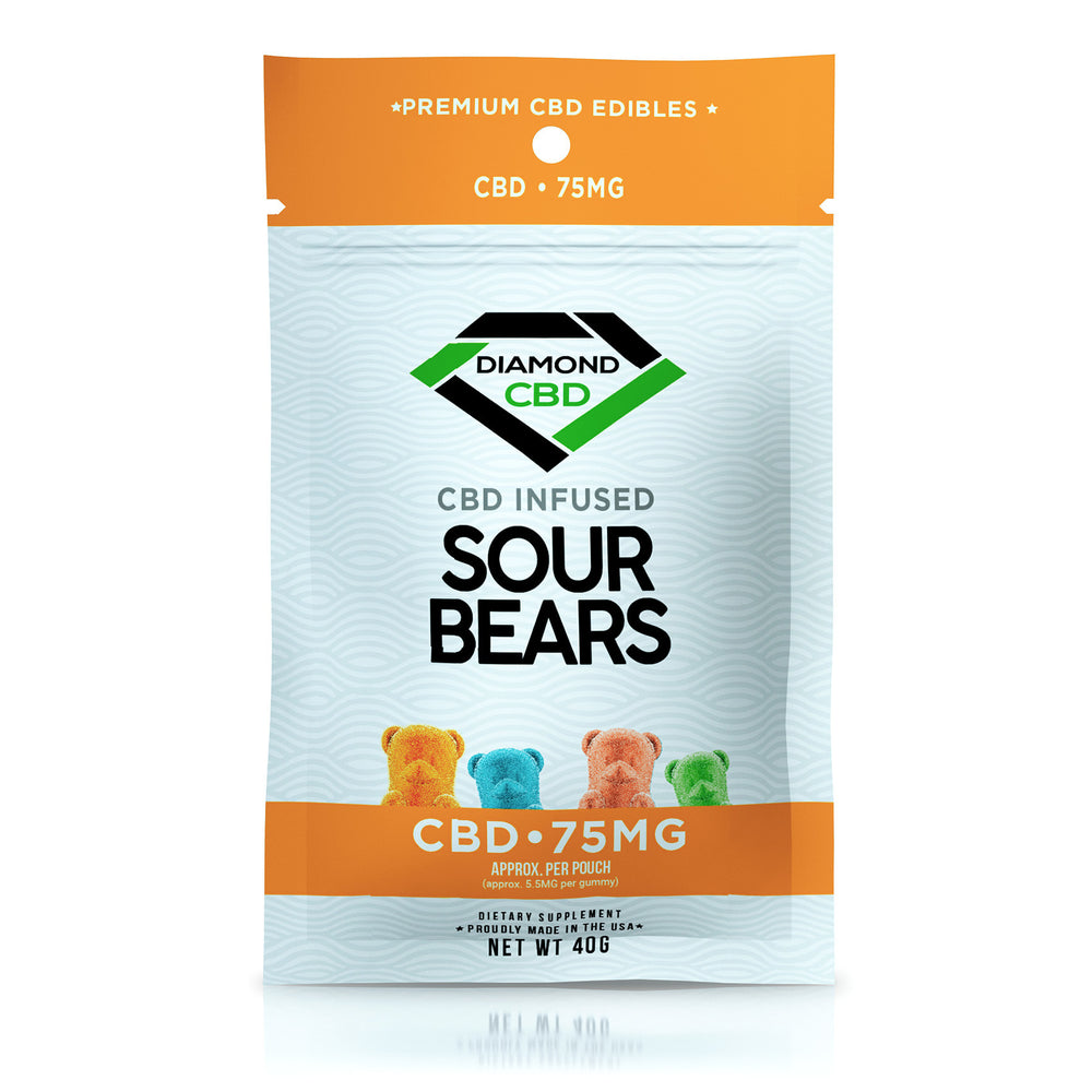 DIAMOND CBD - SOUR GUMMY BEARS 75mg FULL SPECTRUM CBD