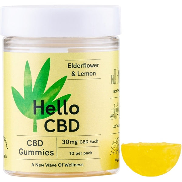 HELLO CBD - 300mg CBD GUMMIES - ELDERFLOWER AND LEMON