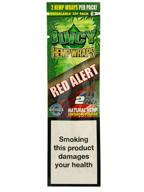 JUICY JAY HEMP BLUNT WRAPS - PACK OF 2 - RED ALERT (STRAWBERRY)