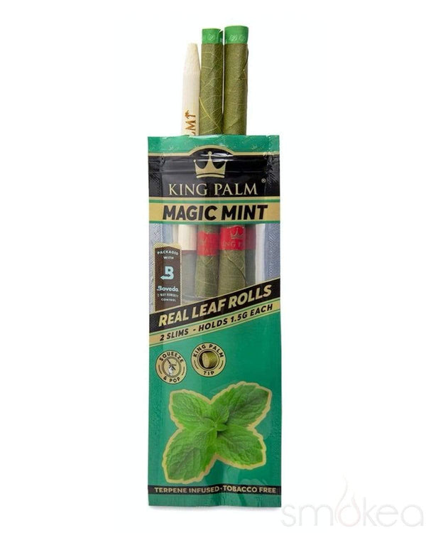 KING PALM SLIM - MAGIC MINT TERPENE FLAVOUR - 2 PACK - FITS 1.5g - CORDIA PALM LEAF PREROLLED BLUNT WRAPS