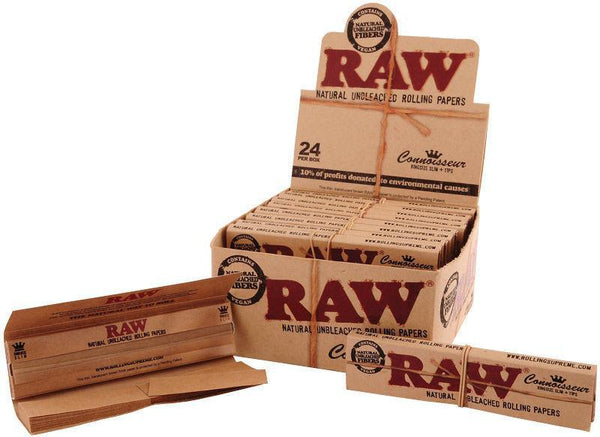 RAW CLASSIC CONNOISSEUR KINGSIZE SLIM ROLLING PAPERS AND TIPS