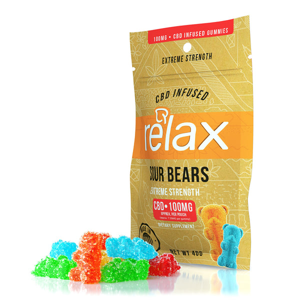 RELAX CBD GUMMIES - SOUR BEARS - 100mg CBD