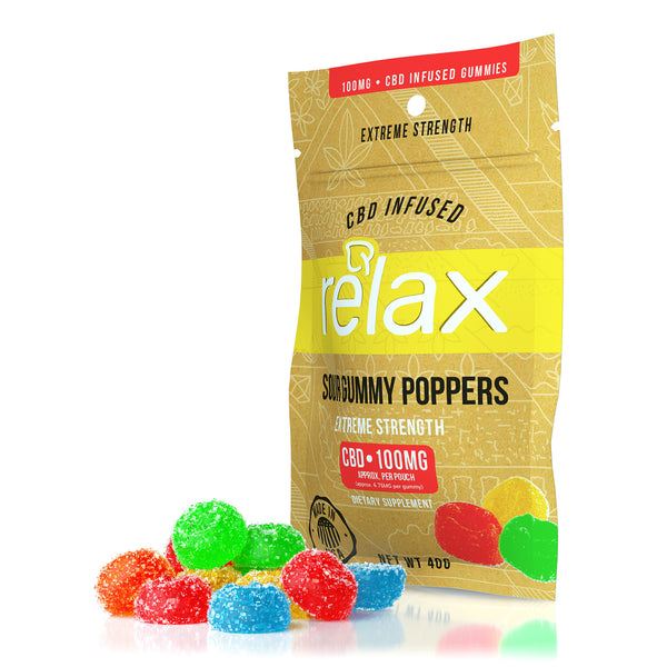 RELAX CBD GUMMIES - CBD INFUSED POPPERS - 100mg CBD