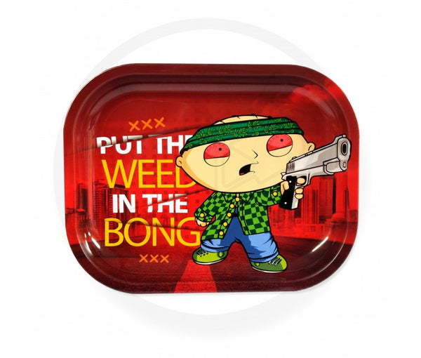 "FAMILY GUY STEWIE GRIFFIN METAL ROLLING TRAY ""WEED IN THE BONG"" TRAY"