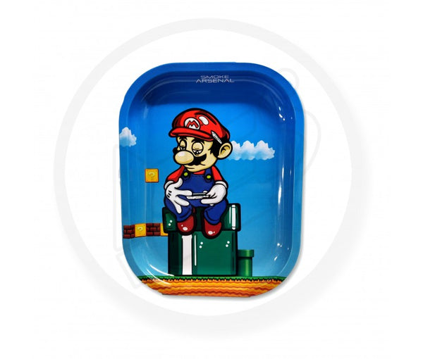 "SUPER MARIO ""ROLLING UP"" METAL ROLLING TRAY SMALL BY SMOKE ARSENAL"
