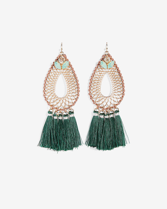 Beaded teardrop filigree earrings