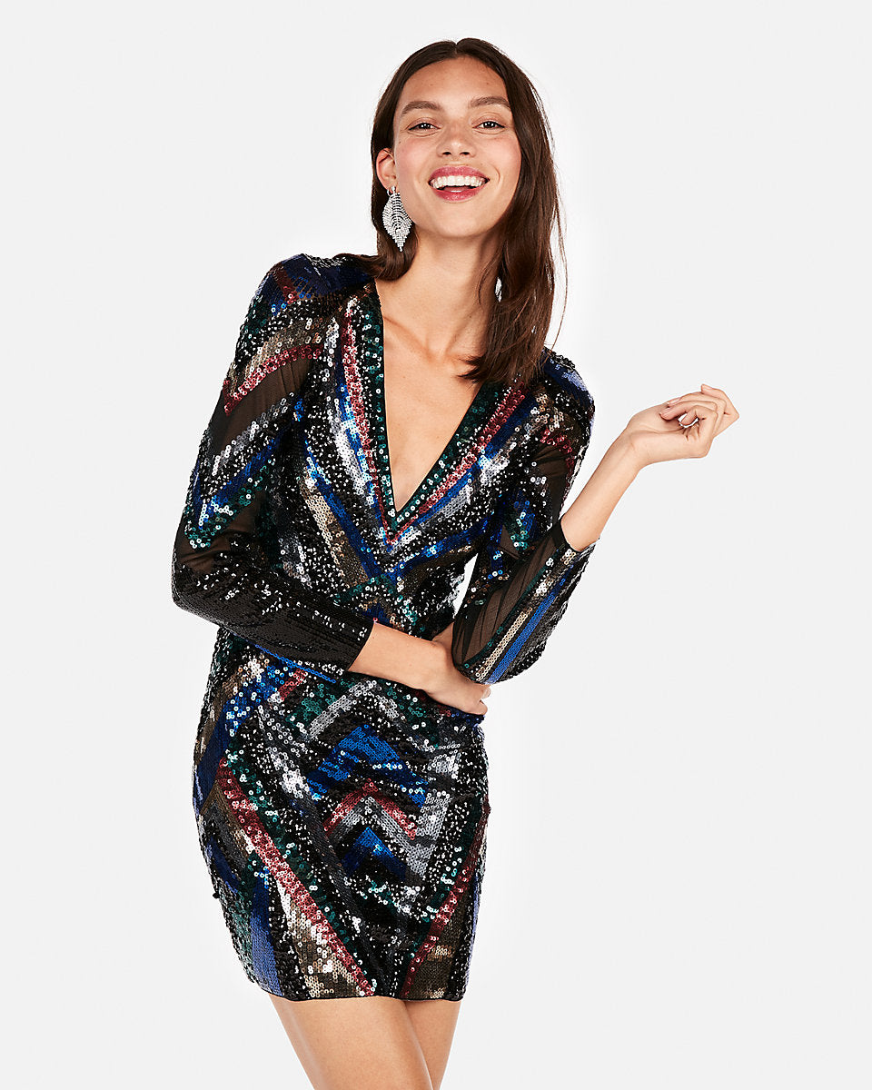 Patterned multicolor sequin sheath dress