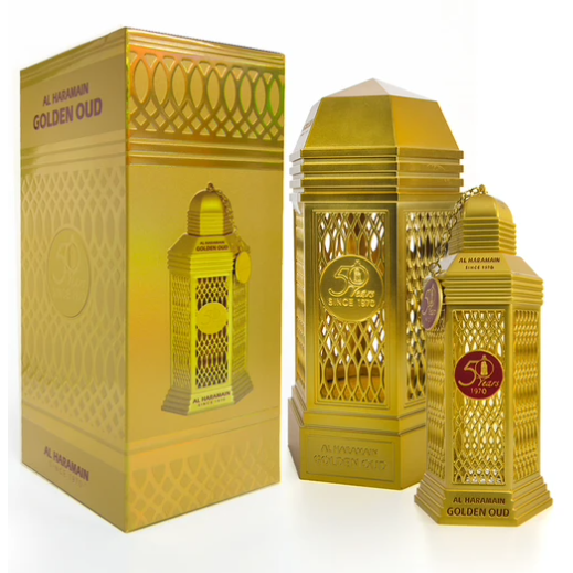 Golden Oud 100ml By Al Haramain Majestic Blend Consists Of The Finest, Original Dehnal Oud, Extracted From the Khasiana Tree