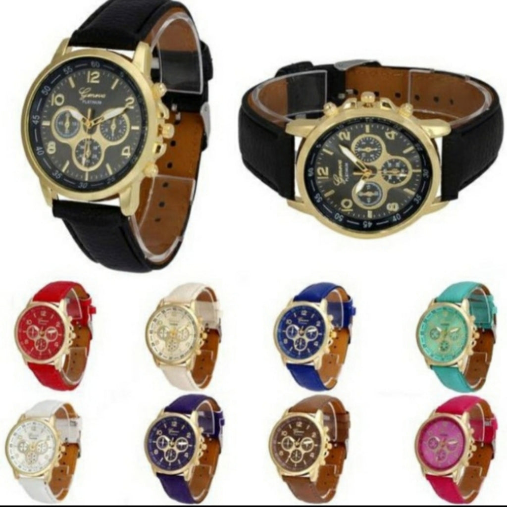 Beautiful Geneva watches in several different color designs!