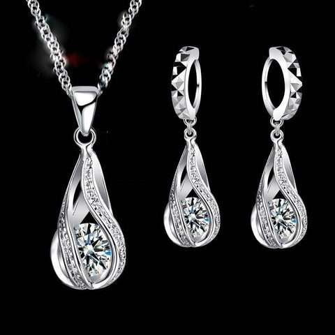 Water Drop CZ 925 Sterling Silver Jewelry Set - socialblingz