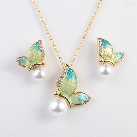 Butterfly with Pearl Jewelry Set