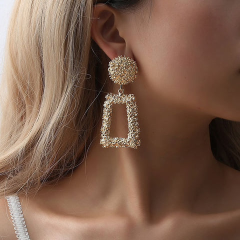 Exquisite Vintage Metal Matte Long Earrings