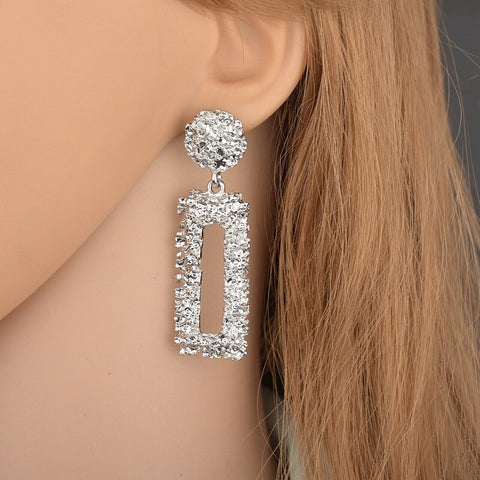 Rectangle Shape Embossed Metal Matte Long Earrings