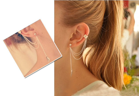 Leaf Tassel Metal Ear Cuff